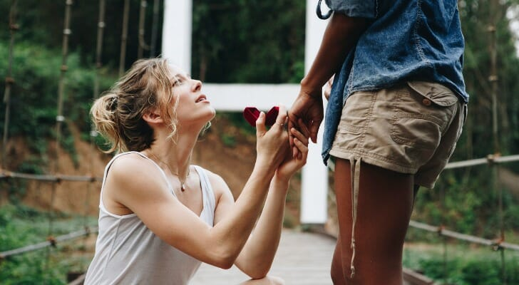 Woman proposing with engagement ring