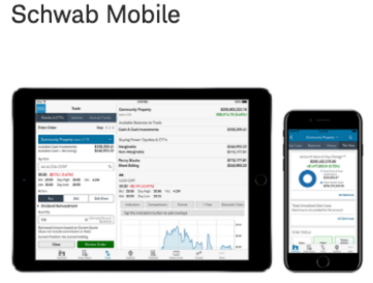 Charles Schwab's app works on smartphones, iPads and Apple watches