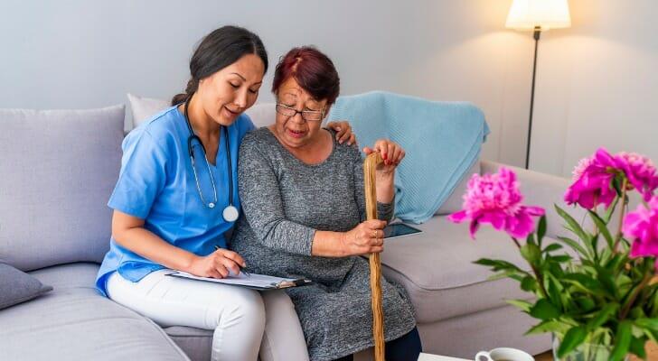 Nursing home resident with nurse