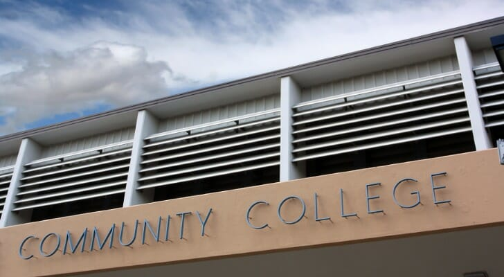 The photo depicts the facade of a community college building. SmartAsset rounds up this year's list of the best community colleges in the U.S.