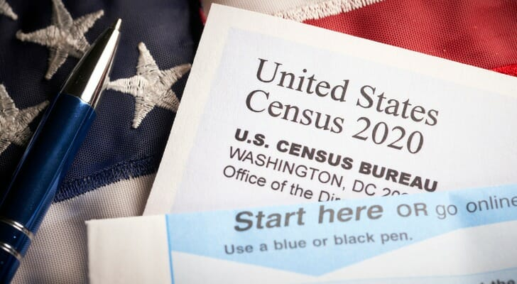 Images shows a blank U.S. Census 2020 form and a pen against an American flag. SmartAsset analyzed recent Census data to find where self-response rates have increased the most between May 4 and August 18, 2020.
