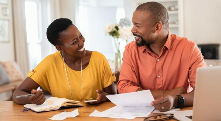 Couple preparing tax returns