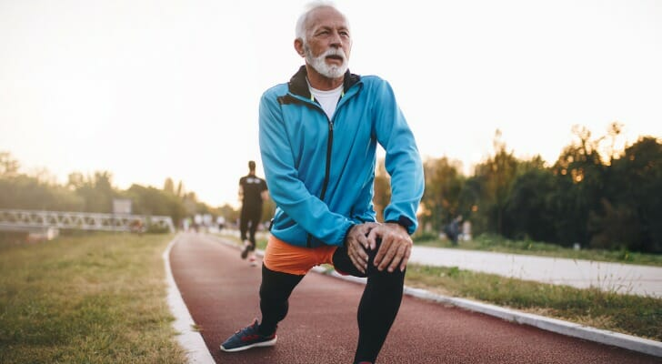 A retired man on a running track