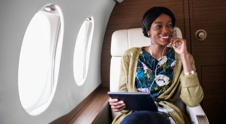 Wealth manager on a private jet