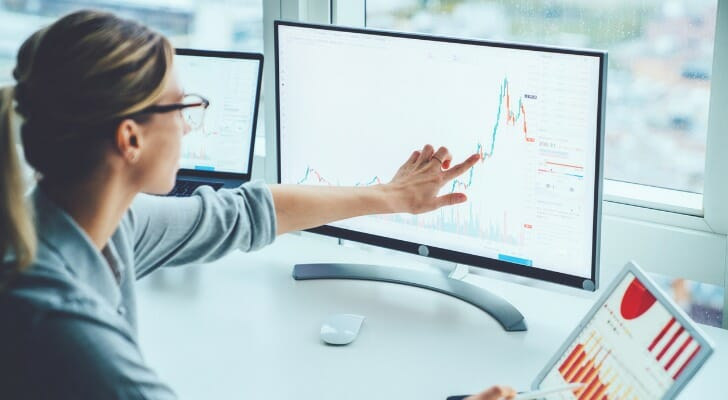 Woman trading stocks