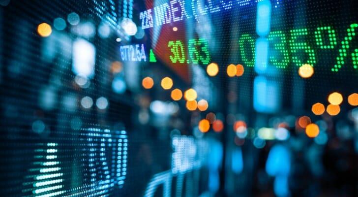 Electronics display of stock prices