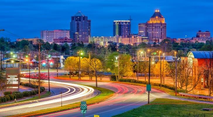 Greensboro, North Carolina, at dusk