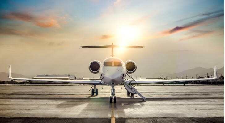 Private jet on an airport tarmac