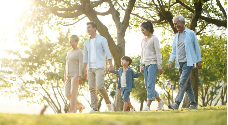 Three generations of a family walking in a park