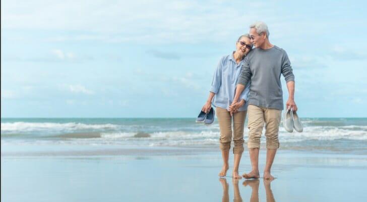 Retired couple on a beach