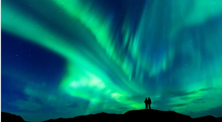 Finnish retirees enjoy the aurora borealis