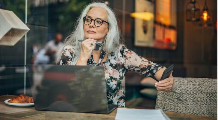 Senior woman planning her retirement