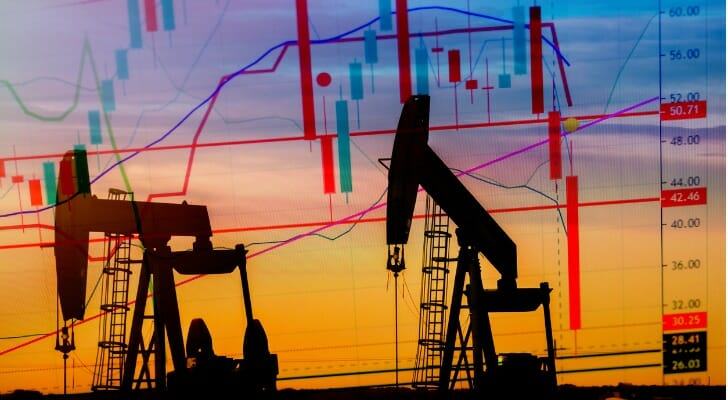 Two oil pumpjacks with candlestick chart in background