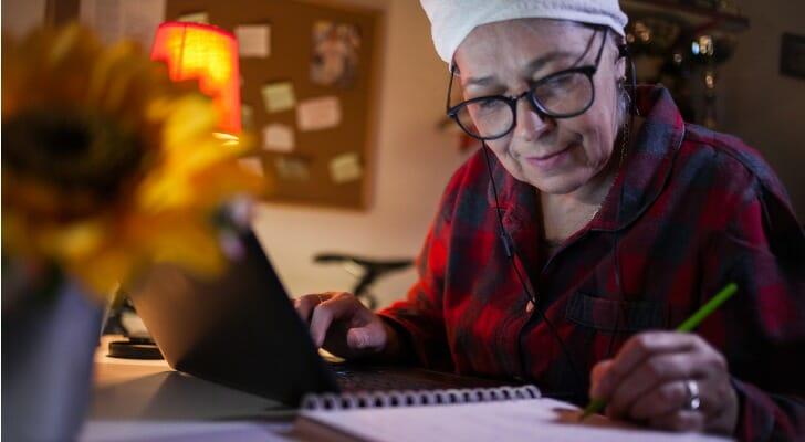 Senior woman using SoFi