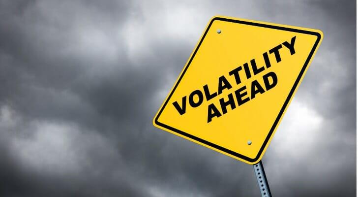 """VOLATILITY AHEAD"" traffic sign"