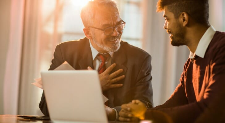 A financial advisor works with a client