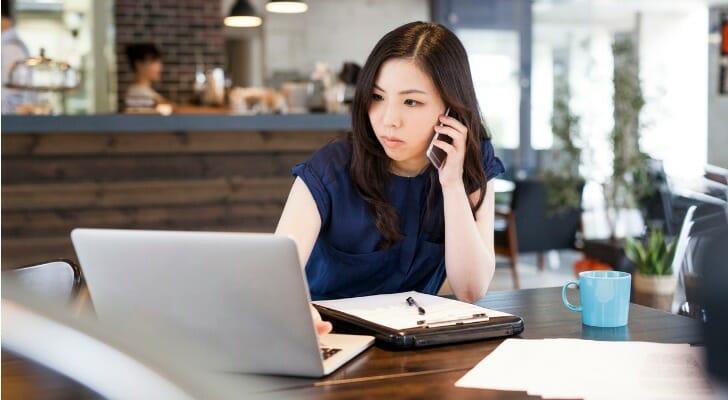 Female financial advisor on a cold call