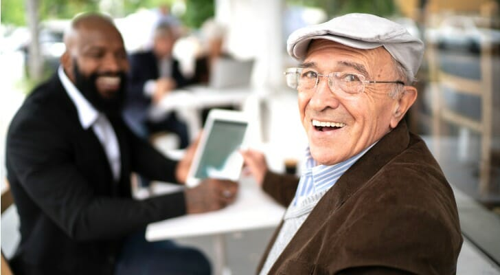 Senior man talking to his financial advisor