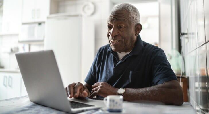 Senior African-American man on his PC