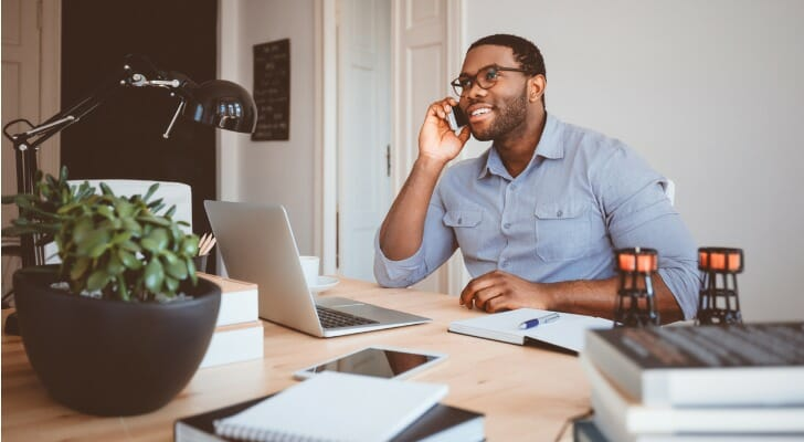 Financial advisor making a cold call