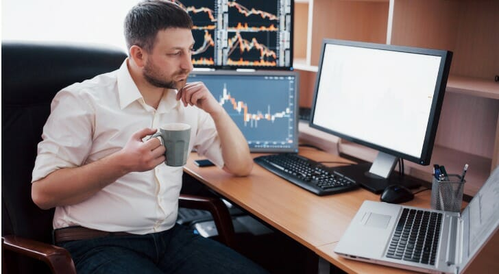 Investor sitting his office