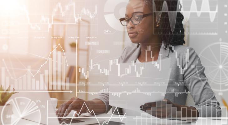 A woman checks her fixed-income portfolio