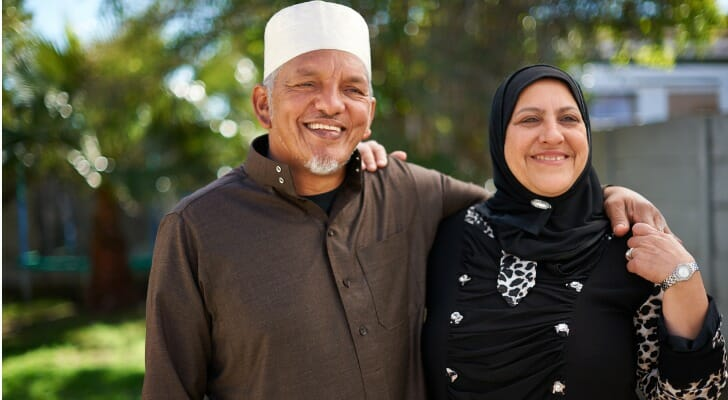 Elderly Muslim couple