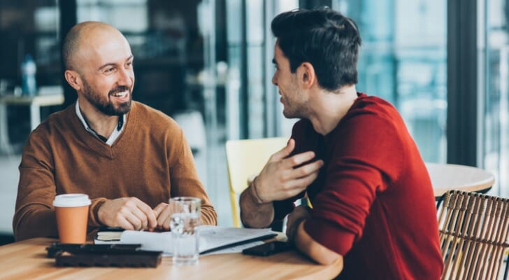 Financial advisor meets with a potential client