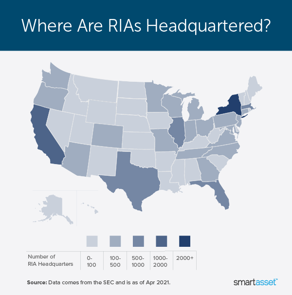 """Image is a heat map by SmartAsset titled """"Where Are RIAs Headquartered?"""""""
