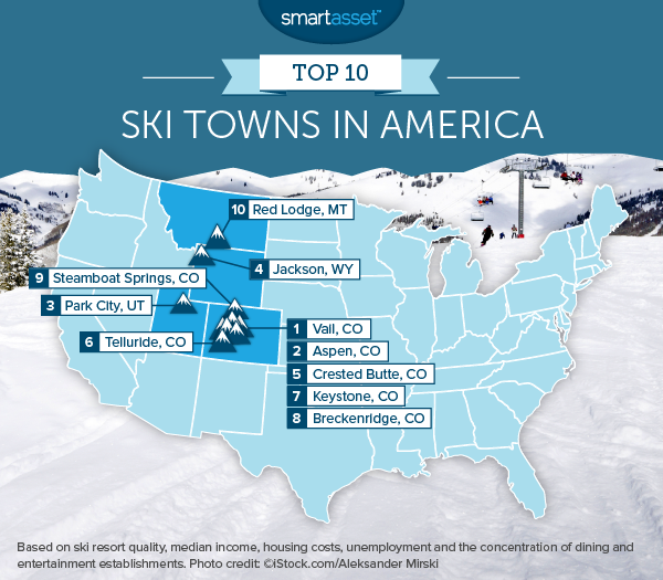 best ski towns map2 The Best Ski Towns in America 2015 Edition