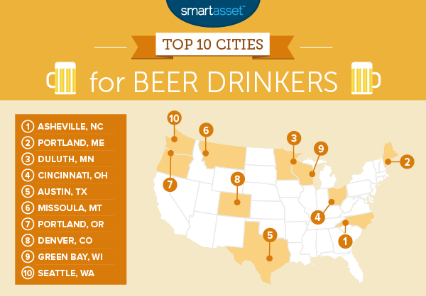 best cities for beer drinkers by smartassets.com
