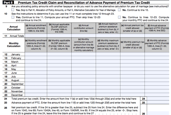 Form 8962 Irs Calculate Your Premium Tax Credit Ptc Smartasset