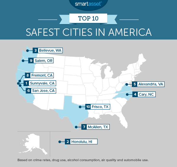Cities Of America Map.The Safest Cities In America In 2015 Smartasset
