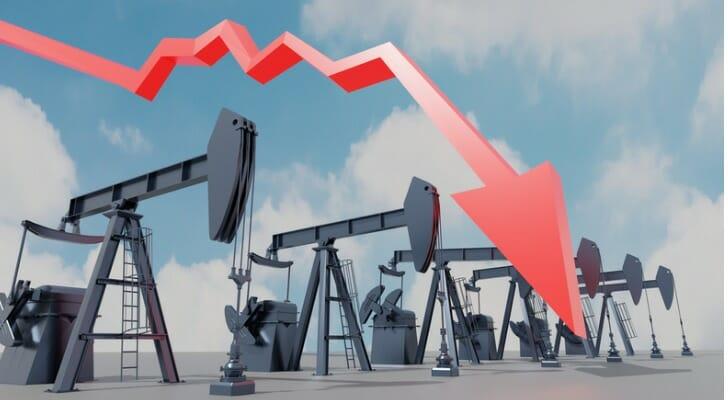 Pump jacks and a down price arrow