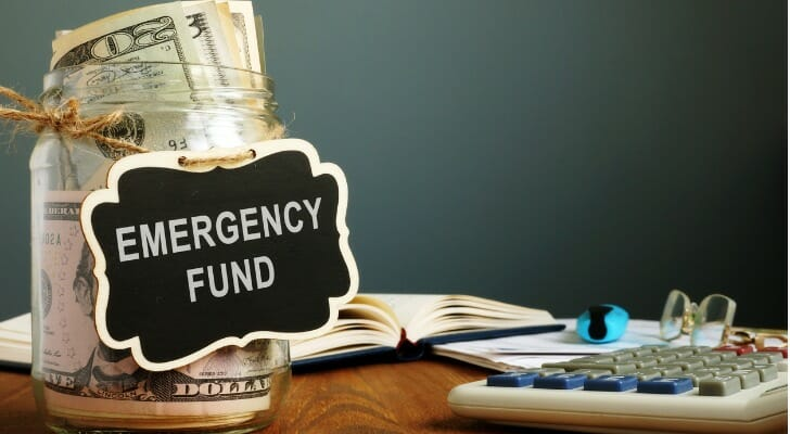 Jar full of emergency fund money