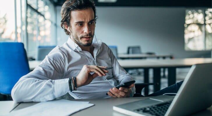 An investor at his computer