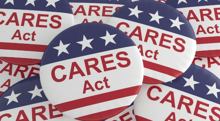 Pile of CARES Act buttons