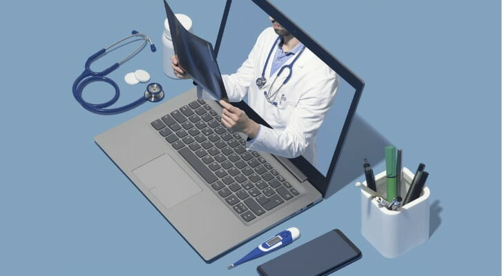 Physician on a PC screen