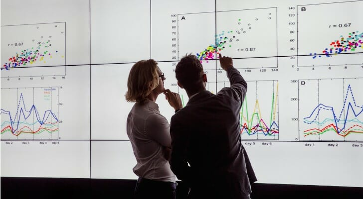 Two employees viewing a large data screen