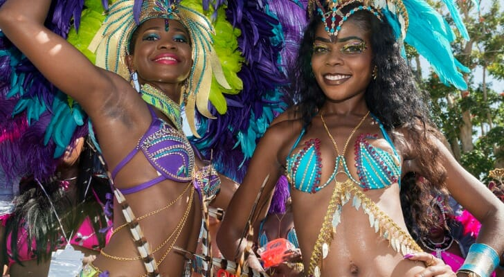 Two women celebrating the Barbados Crop Over Festival