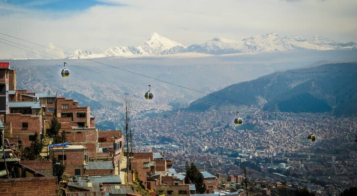 The teleferico in La Paz Bolivia with Andes Mountains in the background.