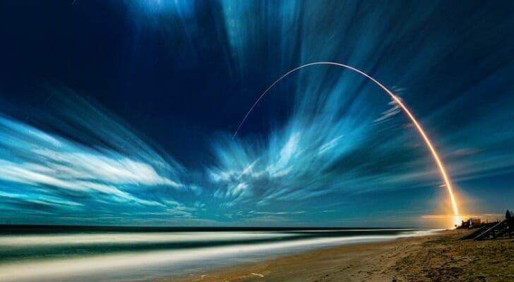 Midnight rocket launch