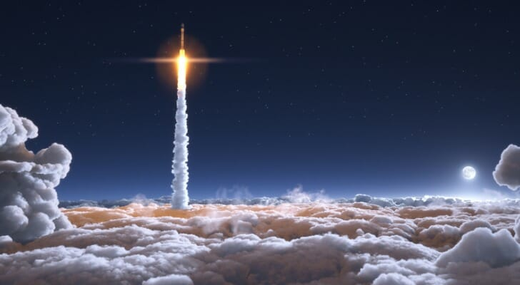 A rocket soaring up