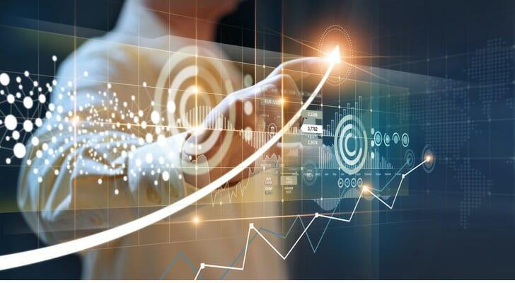 Translucent digital stock price graph
