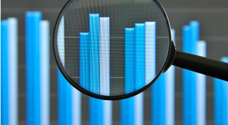 Magnifying glass on bar graph