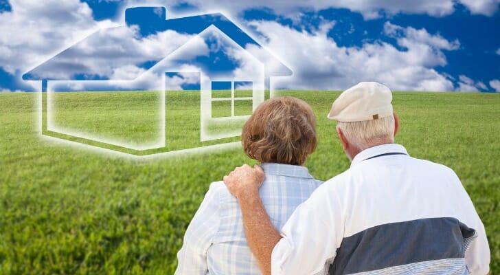Senior couple imagining a retirement residence