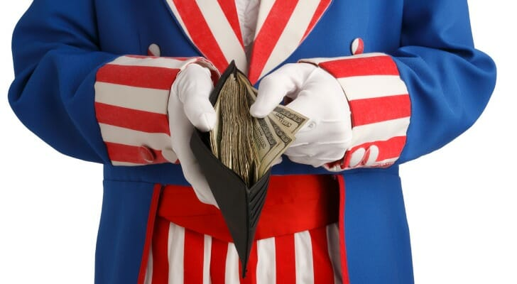 Uncle Sam doles out money