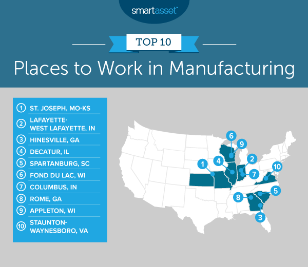 """Image is a map by SmartAsset titled, """"Top 10 Places to Work in Manufacturing."""""""