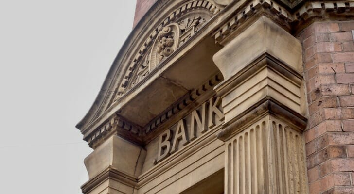 Ornate facade of a large bank building