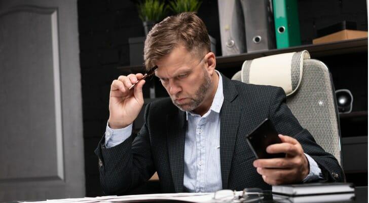 An options trader at his desk